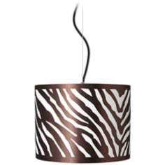 "Zebra Drum 13 1/2"" Wide Pendant Light"
