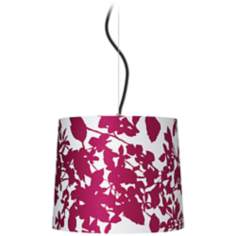 "Plum Floral Silhouette 13 1/2"" Wide Pendant Light"