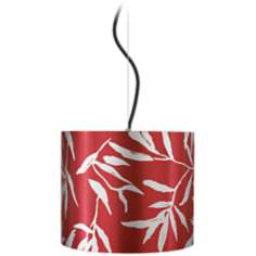 "Silver Leaves Red Drum 12"" Wide Pendant Light"