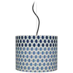 "Blue Dots 14"" Wide Drum Pendant Light"