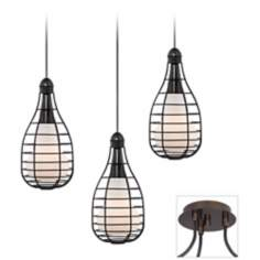 industrial Cage Tiger Bronze Triple Swag Chandelier