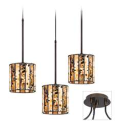Tiffany Speckled Tiger Bronze Triple Swag Chandelier