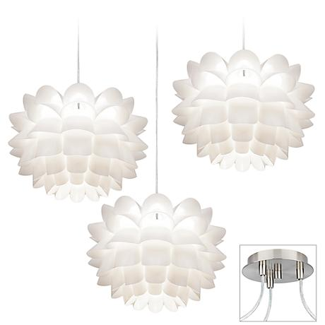 White Flower Brushed Nickel Triple Swag Chandelier X9880 13022