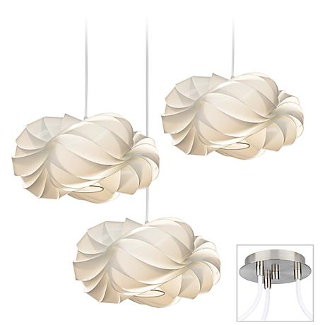 White Cloud Brushed Nickel Triple Multi Light Pendant