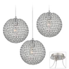 Crystal Beaded Brushed Nickel Triple Swag Chandelier