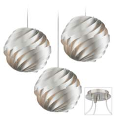 Silver Waves Brushed Nickel Triple Swag Chandelier