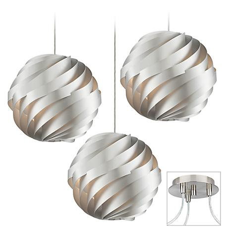 Silver Waves Brushed Nickel Triple Multi Light Pendant