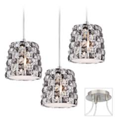 Checkerboard Crystal Brushed Nickel Triple Swag Chandelier
