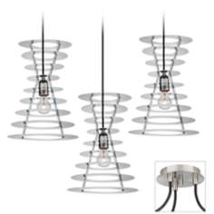 Tower Brushed Nickel Triple Swag Chandelier