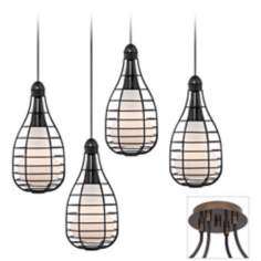 Tiger Bronze-Industrial Cage 4 Swag Chandelier