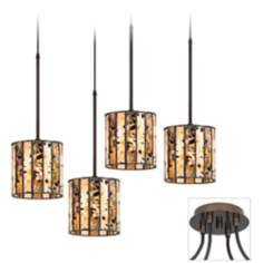 Tiffany Speckled Tiger Bronze 4 Swag Chandelier