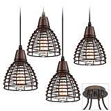 Possini Euro Metal Grid Tiger Bronze 4-Light Light Pendant
