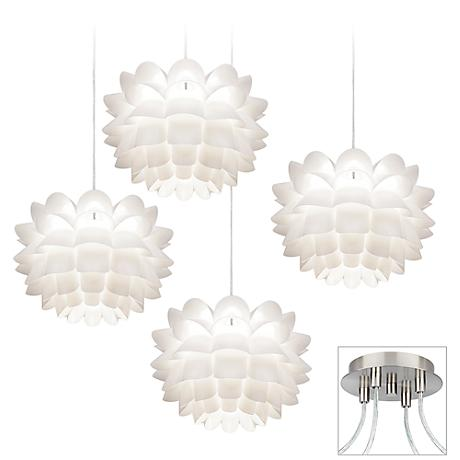 Possini Euro White Flower Brushed Nickel 4 Swag Chandelier