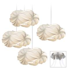 White Cloud Brushed Nickel 4 Swag Chandelier