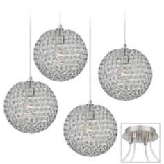 Crystal Beaded Brushed Nickel 4 Swag Chandelier