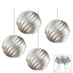 Silver Waves Brushed Nickel 4 Swag Chandelier