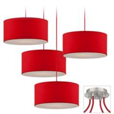 Red Drum Brushed Nickel 4 Swag Chandelier