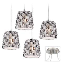 Checkerboard Crystal Brushed Nickel 4 Swag Chandelier