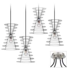 Tower Brushed Nickel 4 Swag Chandelier