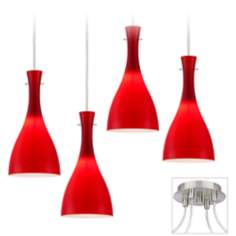 Vermelho Brushed Nickel  4 Swag LED Chandelier