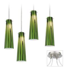 Foliage Brushed Nickel 4 Swag LED Chandelier