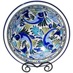 Le Souk Ceramique Aqua Fish Design Large Serving Bowl