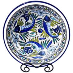 Le Souk Ceramique Aqua Fish Design Medium Serving Bowl