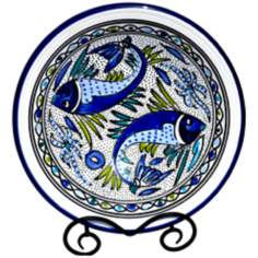 Le Souk Ceramique Aqua Fish Design Small Serving Bowl