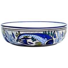 Le Souk Ceramique Aqua Fish Design Wide Salad/Pasta Bowl