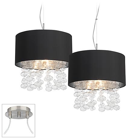 Bubble Cascade Brushed Nickel Double Multi Light Pendant