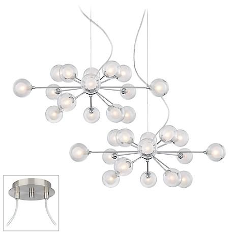 Possini Euro Orbs Chrome - Nickel Double Multi Light Pendant