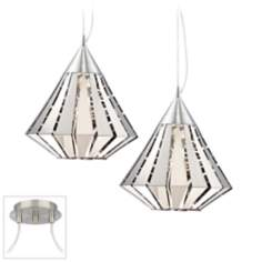 Diamond Brushed Nickel Double Swag Chandelier