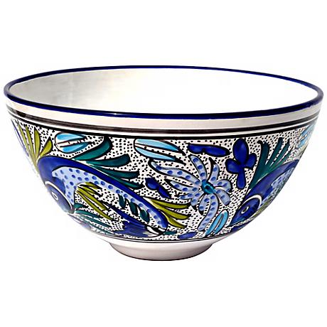 Le Souk Ceramique Aqua Fish Design Deep Salad Bowl