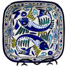 Le Souk Ceramique Aqua Fish Design Square Serving Bowl