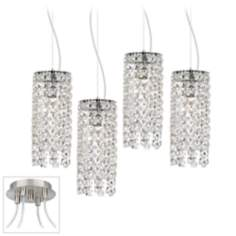 Crystal Cascade Brushed Nickel 4 Swag Chandelier