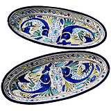 Le Souk Ceramique Aqua Fish Set of 2 Large Oval Platters