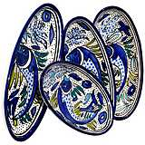 Le Souk Ceramique Aqua Fish Set of 4 Small Oval Platters
