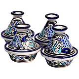 Le Souk Ceramique Aqua Fish Design Set of 4 Mini Tagines