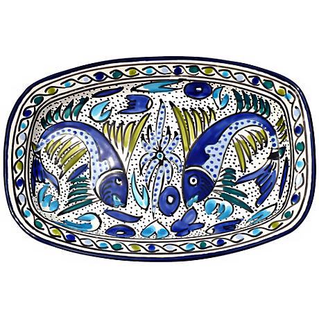 Le Souk Ceramique Aqua Fish Design Rectangular Platter