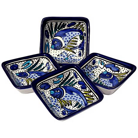 Le Souk Ceramique Aqua Fish Set of 4 Square Sauce Dishes