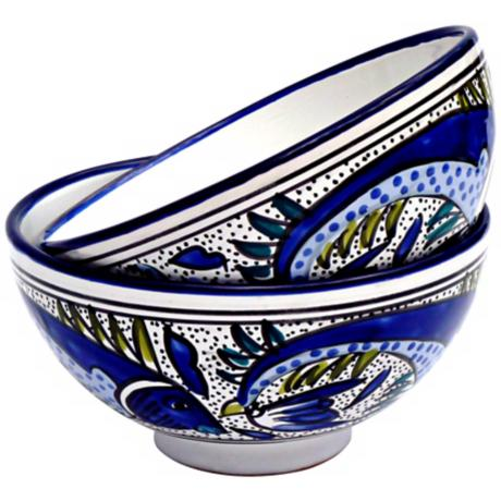 Le Souk Aqua Fish Set of 2 Medium Deep Serve Bowls