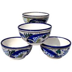 Le Souk Ceramique Aqua Fish Set of 4 Soup/Cereal Bowls