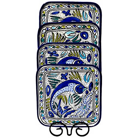 Le Souk Ceramique Aqua Fish Set of 4 Square Plates