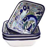 Le Souk Aqua Fish Set of 4 Square Pasta/Salad Bowls