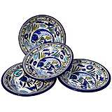 Le Souk Ceramique Aqua Fish Set of 4 Pasta/Salad Bowls