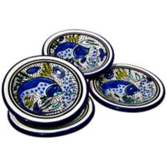 Le Souk Ceramique Aqua Fish Set of 4 Round Sauce Dishes