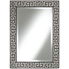 "Greek Key 37"" High Black Tile Mosaic Wall Mirror"