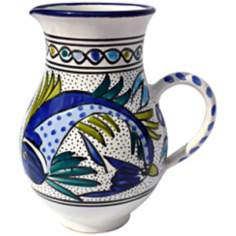 Le Souk Ceramique Aqua Fish Design Large Pitcher