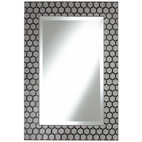 "Graphite Gray 32 1/4"" High Hexagonal Tile Wall Mirror"