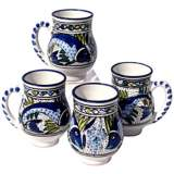 Le Souk Ceramique Aqua Fish Design Set of 4 Large Mugs